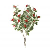 82cm MultiBranch Holly Berry Branch – Frosted