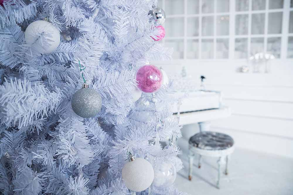 Frosted christmas tree with decorations