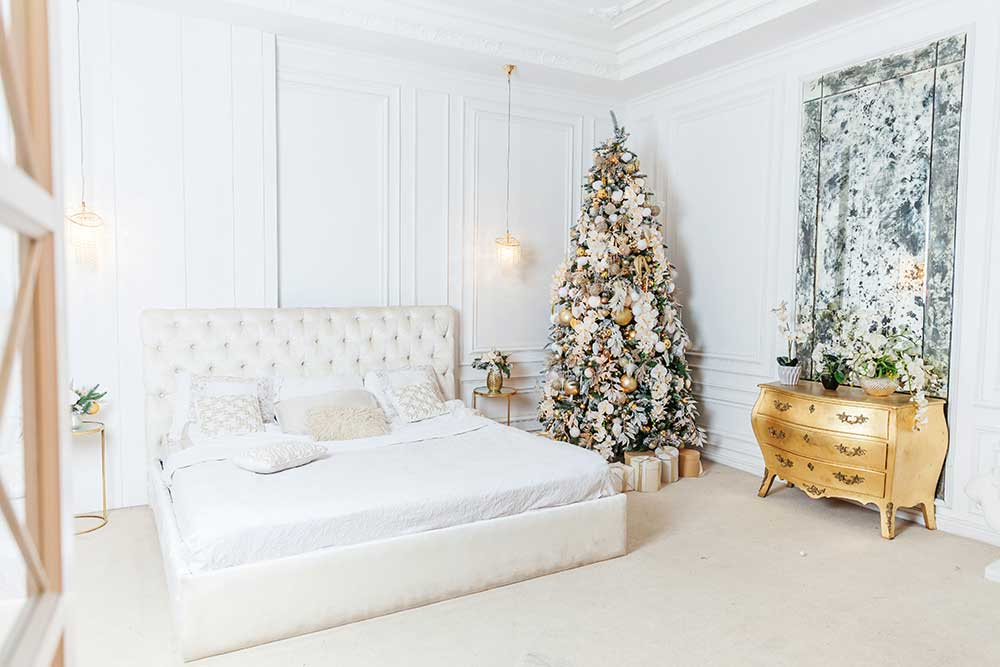 Artificial Christmas tree stunningly blends in a hotel elegant room